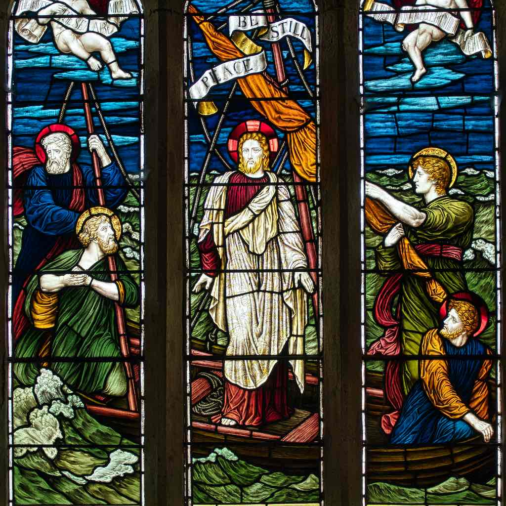 Christ Calming the Storm, 19th century stained glass by James Powell & Sons
