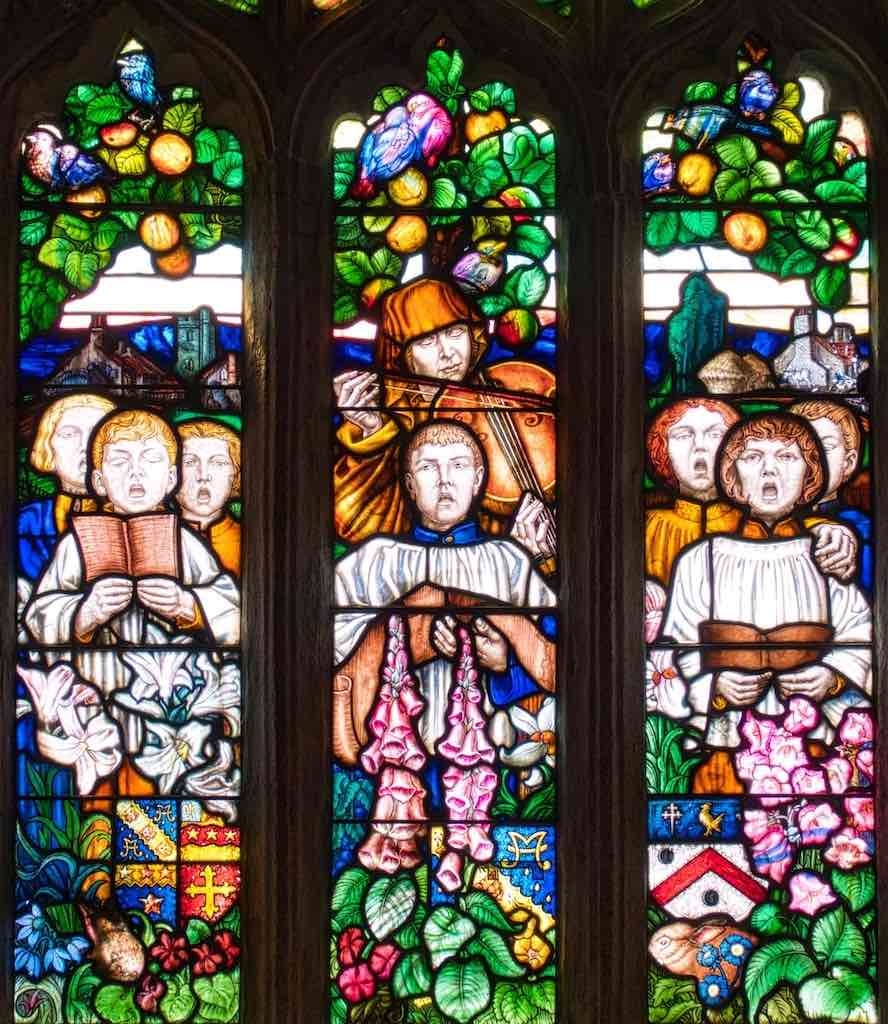 Powerful stained glass by Frank Brangwyn
