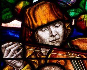 Stained Glass Frank Brangwyn Saint Cecilia Violin 20th Century Manaton