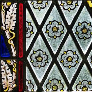 Stained Glass Quarry Glass Flowers Oak Victorian 19th Century Brentor