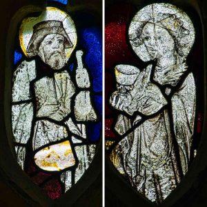 Stained Glass Saint James John 15th Century Medieval Manaton