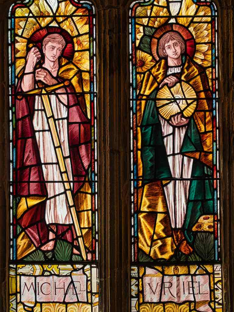 The archangels Michael and Uriel by Selwyn Image in stained glass