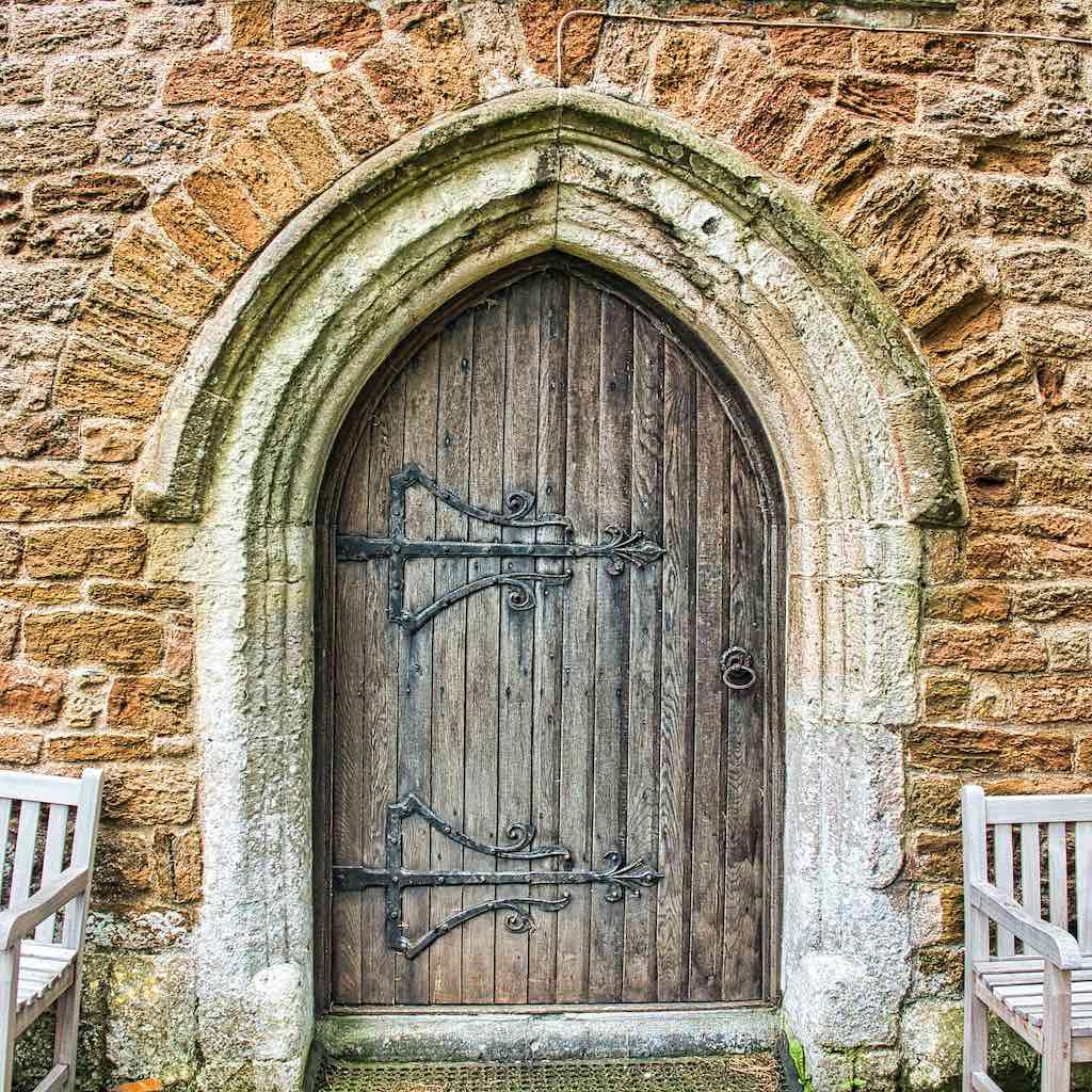 The old west doorway with a 19th century door
