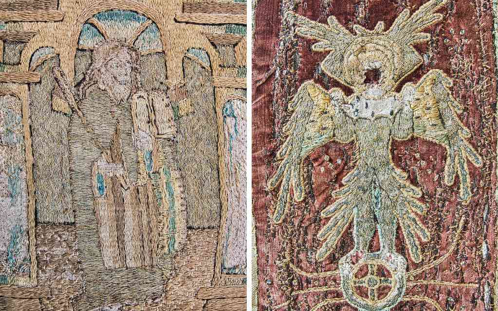 A saint and an angel on 15th century priest's vestments recycled to an altar cloth