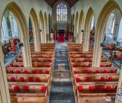 Church Interior Pillar Arch Pew Beer Stone Carving Plain Fifteenth Century Medieval Malborough