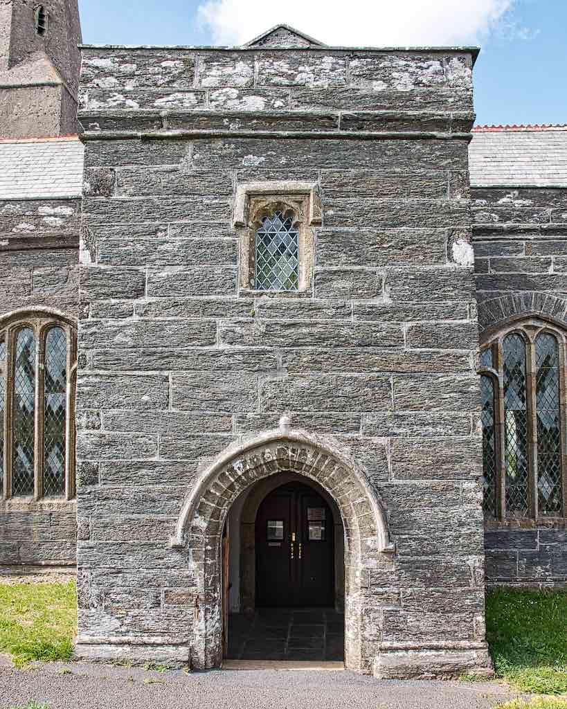 The south porch is made from local slate stone