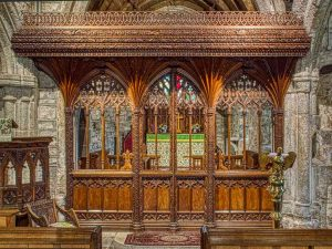 Rood Screen Wood Carving Plain Cornice Tracery Wainscoting Pinwill Sisters Frederick Bligh Bond 20th Century Lydford