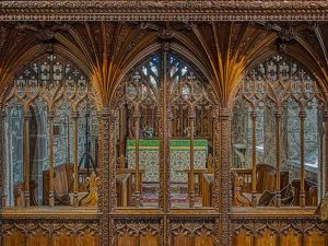 Rood Screen Wood Carving Plain Tracery Vaulting Pinwill Sisters Frederick Bligh Bond 20th Century Lydford