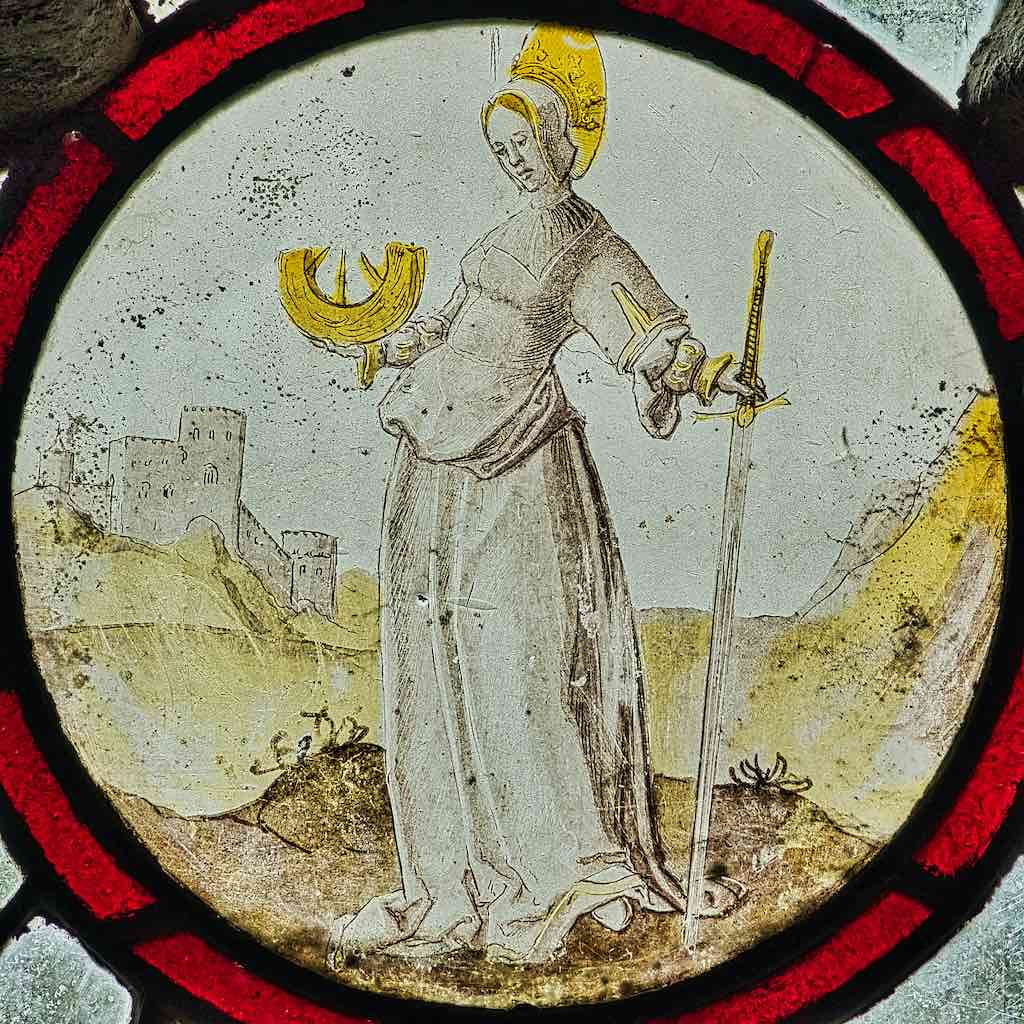 Saint Catherine in 17th century Flemish stained glass