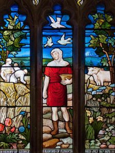 Stained Glass Parable Of Sower Wheat Oxen Victorian 19th Century Fouracre And Watson Lydford