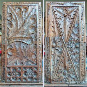 Bench End Wood Carving Plain Foliage 16th Century Medieval Swimbridge
