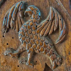 Bench End Wood Plain Carving Eagle 16th Century Medieval Dowland
