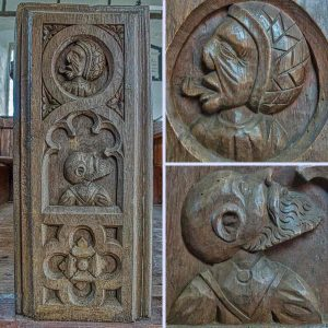 Bench End Wood Plain Carving Preacher 16th Century Medieval Dowland