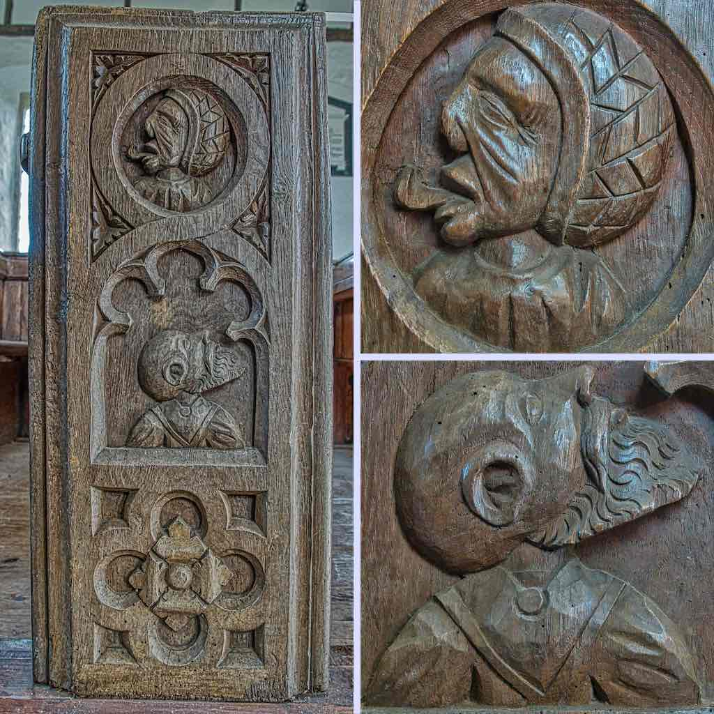 A 16th century benchend, with a bit of mystery