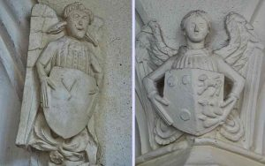 Chancel Stone Carving Plain Angels Coat Of Arms 15th Century Medieval Cheriton Fitzpaine