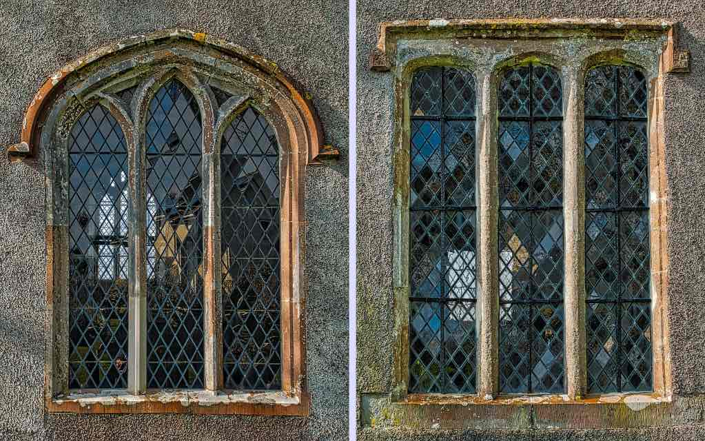 The two east windows on Dowland church
