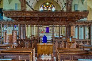 Church Interior Chancel Screen Wood Carving Plain 20th Century Cheriton Fitzpaine