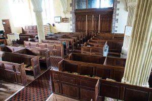 Church Interior Nave Box Pews Wood Carving Plain 18th Century Cheriton Fitzpaine