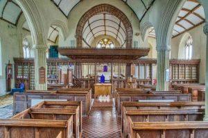 Church Interior Nave Pews Chancel Screen Arch Wood Carving Plain 20th Century Cheriton Fitzpaine