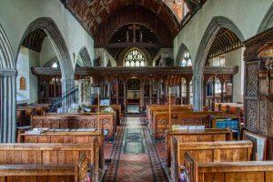 Church Interior Pillar Rood Screen Pew 15th Century Medieval Swimbridge