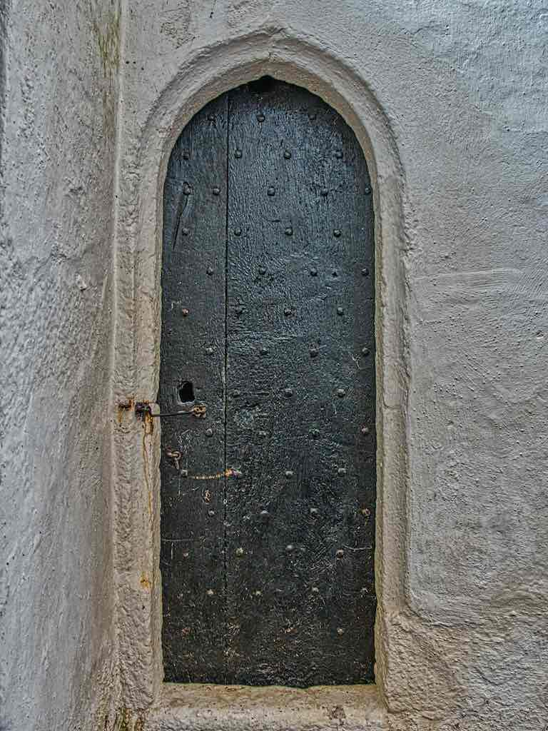 The original medieval door into the tower stairs