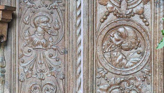 Font Cover Wood Carving Plain Arabesques 16th Century Renaissance Swimbridge
