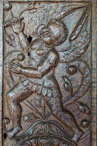 Font Cover Wood Carving Plain Figure 16th Century Renaissance Swimbridge