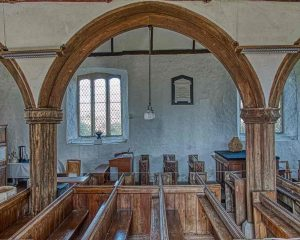 Nave Pew Pillar Arch Oak Wood Plain Carved 16th Century Medieval Dowland.jpeg