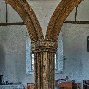Pillar Arch Oak Wood Plain Carved 16th Century Medieval Dowland