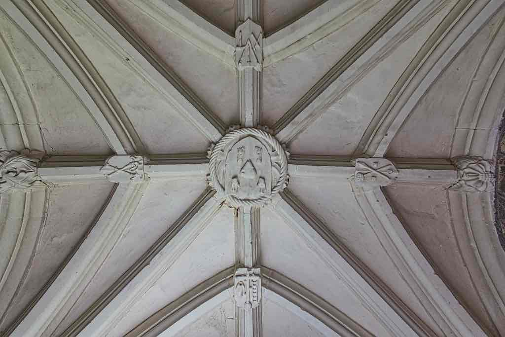 The stylish vaulting on the porch roof