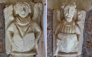 Porch Interior Stone Carving Plain Angels 15th Century Medieval Cheriton Fitzpaine
