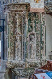 Pulpit Stone Carving Coloured 15th Century Medieval Swimbridge