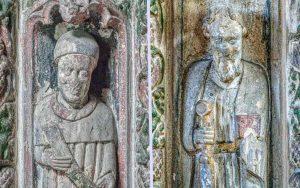 Pulpit Stone Carving Coloured Saint 15th Century Medieval Swimbridge