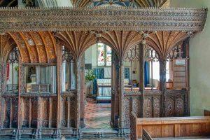 Rood Screen Wood Carving Plain 16th Century Medieval Swimbridge