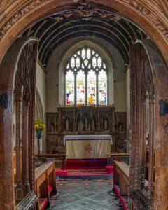 Rood Screen Wood Carving Plain Door Chancel Altar East Window 16th Century Medieval Swimbridge