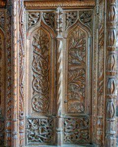 Rood Screen Wood Carving Plain Wainscoting Foliage 16th Century Medieval Swimbridge
