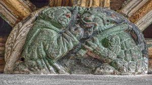 Roof Boss Devil Wood Carving Coloured 15th Century Medieval Swimbridge