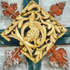 Roof Boss Wood Carving Coloured Gilding Bird Foliage 15th Century Medieval Cheriton Fitzpaine