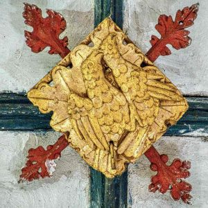 Roof Boss Wood Carving Coloured Gilding Birds 15th Century Medieval Cheriton Fitzpaine
