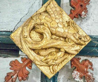 Roof Boss Wood Carving Coloured Gilding Dragon 15th Century Medieval Cheriton Fitzpaine
