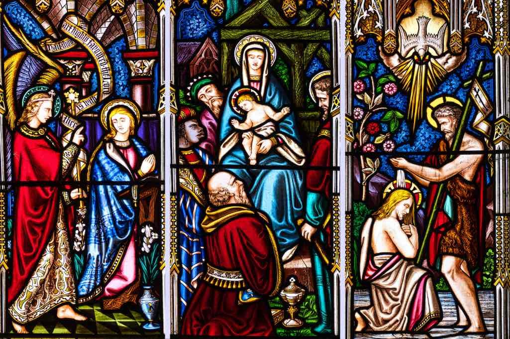Three scenes from the life of Christ in Victorian stained glass