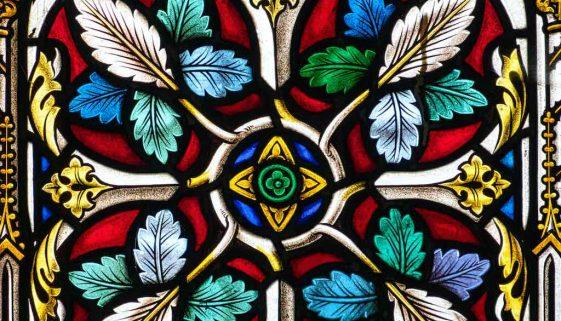 Stained Glass Annunciation Nativity Foliage 19th Century Victorian Cheriton Fitzpaine