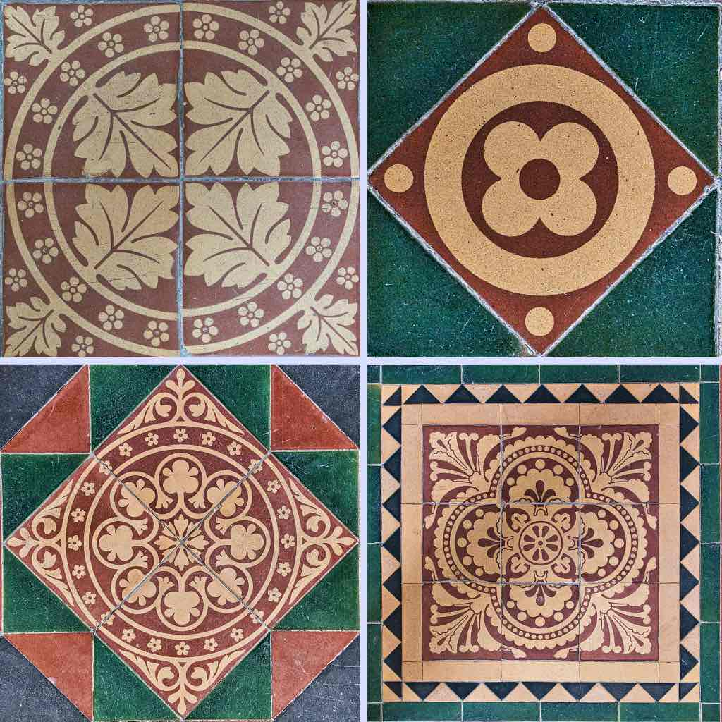 Victorian encaustic floor tiles, always a pleasure to pass time with