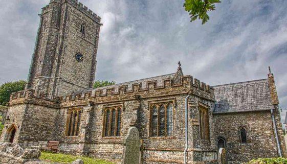 Church Exterior 15th Century Medieval West Tower South Aisle Chancel Stonework Membury