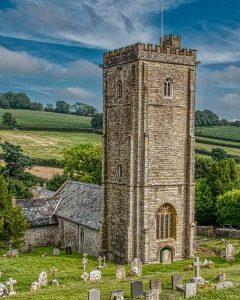 Church Exterior 15th Century Medieval West Tower Stonework Membury
