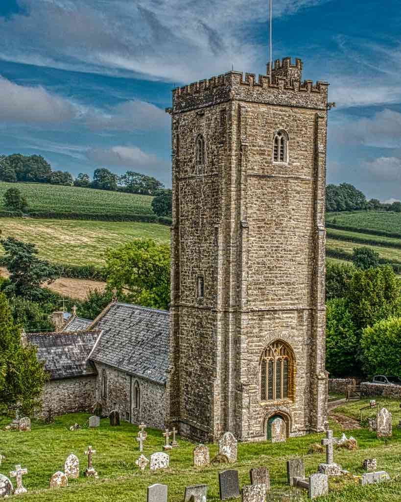 The magnificent 15th century tower of Membury church