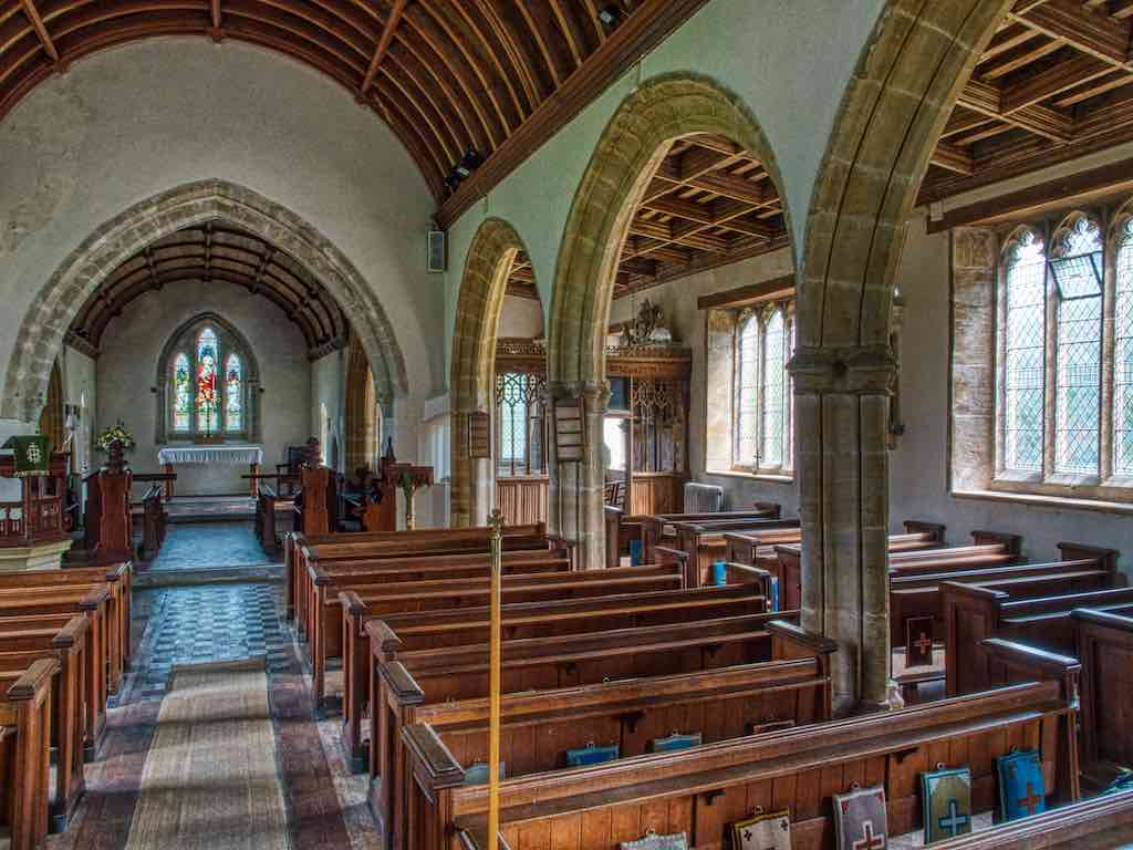 The lovely interior of Membury church