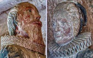 Memorial Stone Carving Coloured Face 17th Century Membury
