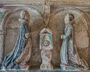 Memorial Stone Carving Coloured Figure 17th Century Membury