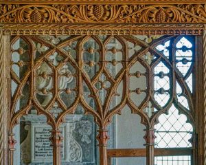 Rood Screen Wood Carving Plain Tracery 15th Century Medieval Membury
